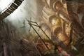 Картинка город, драконы, арт, постройки