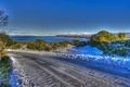 Картинка зима, дорога, небо, снег, озеро