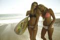 Картинка море, пляж, девушки, доска, серфингистки