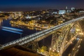 Картинка ночь, огни, крыши, зеркало, Португалия, Порто, Понте Луис I