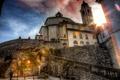 Картинка стены, Италия, лестница, церковь, лучи солнца, Domodossola