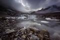 Картинка отражение, озеро, природа, тучи, горы, снег, лед