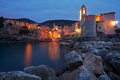 Картинка Телларо, Италия, горы, дома, море, огни, башня