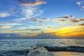 Картинка море, небо, закат, побережье, горизонт