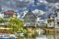 Картинка мост, город, река, фото, дома, Германия, Bad Kreuznach