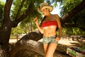 Картинка Cow girl, Strawberry, top, Jorda Carver, red top, shorts