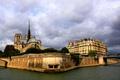 Картинка тучи, Сена, Франция, Париж, собор парижской богоматери, остров Сите, река