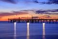 Картинка море, небо, облака, закат, hdr, фонари, пирс