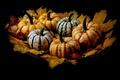 Картинка листья, фон, тыквы