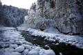 Картинка снег, река, природа