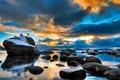 Картинка закат, камни, Lake, небо, Tahoe, облака, тахо