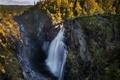 Картинка небо, деревья, горы, река, скалы, водопад, поток