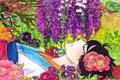 Картинка девушка, цветы, птица, арт, лежит, Аниме, кимоно