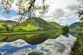 Картинка облака, деревья, остров, небо, озеро, поля, гора