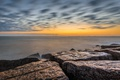 Картинка море, небо, облака, камни, скалы, рассвет, сша