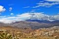 Картинка небо, облака, цветы, горы, скалы