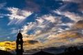 Картинка крыша, небо, облака, деревья, закат, вечер, силуэт