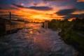Картинка закат, река, потоп