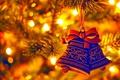 Картинка елка, огоньки, Новый год, колокольчики