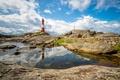 Картинка отражение, камни, скалы, маяк, Норвегия, Ругаланн