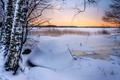 Картинка зима, снег, деревья, природа, лодка