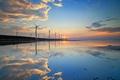 Картинка небо, облака, закат, отражение, ветряная мельница