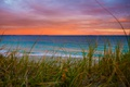 Картинка море, небо, трава, облака, берег