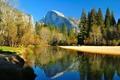 Картинка осень, лес, деревья, горы, река, Калифорния, США