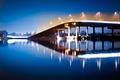 Картинка вода, ночь, мост, огни, отражение, река, фонари