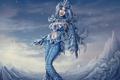 Картинка холод, девушка, человек, арт, кристаллы, league of legends, Anivia