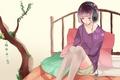 Картинка дерево, кровать, Девушка, подушки, наушники