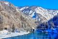 Картинка зима, снег, горы, мост, природа, река