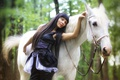 Картинка лес, Девушка, брюнетка, белая лошадь