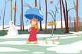 Картинка осень, погода, настроение, первый снег, птички, листья, аниме