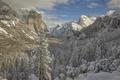 Картинка зима, лес, снег, горы, долина, Калифорния, Йосемити