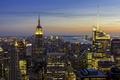 Картинка небо, закат, Нью-Йорк, Манхэттен, Эмпайр-стейт-билдинг, Соединенные Штаты